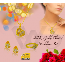 Milano 24K Gold Plated Heart Shaped Necklace Set & Ring With Crystal Stone, ML160