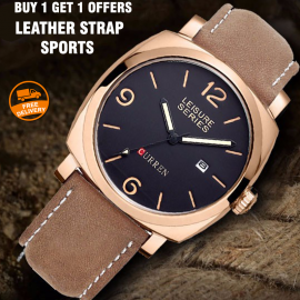 Buy 1 Get 1 Offers Curren military leather strap sports luxury brand 100 meters waterproof Watch for Men, 8158