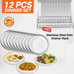 Epsilon 12 Pcs Melamine Dinner Set With Free Cindrella Hyper Home Easy To Assemble Stainless Steel Dish Drainer Rack, EPS7529