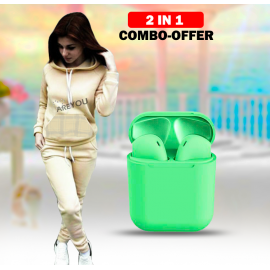 2 in 1 combo offer ,Inpods 12 Wireless Bluetooth Different Color Airpods, Inpods 12,Printed Women Hoodies Pant Clothing Set New Casual 2 Piece, 1Set Warm Clothes Solid Tracksuit Women Set Top Pants Ladies Suit