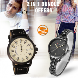 2 In 1 Bundle Offers Walar Quartz Leather Band Watch For Men, Curren Casual Watches Fashionable Quartz Wrist Watch For Women, WC9056