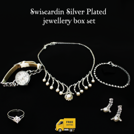 5 In 1 Gift Set Swiscardin Silver Plated Necklace Set, Silver Plated Ring, Silver Plated Bracelet, Stainless Steel Silver Analog Watch For Women, MSQ5